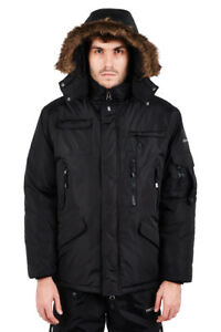Adults Mens Padded Winter Jacket Black Quilted Hooded Coat Long Black S-XXL 68