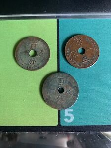3-1912-1917-1930-FRENCH-INDO-CHINE-FRANCAIS-VIETNAM-1-CENT-coins