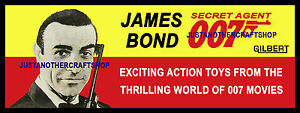 Gilbert-Toys-James-Bond-1965-007-Poster-Advert-Shop-Display-Sign-Sean-Connery