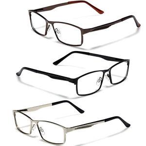 large size mens metal rectangle reading glasses