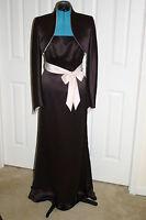 David's Bridal Mother Or Groom Truffle & Pink Satin Gown & Bolero Sz 6 $218