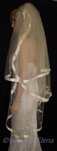 "Wedding Bridal Veil Waltz 3Tiers 30/"" 40/"" 50/"" length Wide Satin Ribbon 27 Colors"
