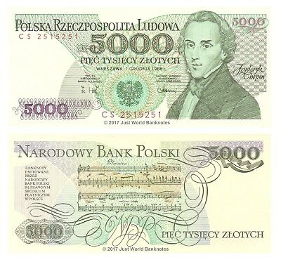 1988 UNC /> Composer Chopin P-150c Poland 5000 Zlotych 5,000