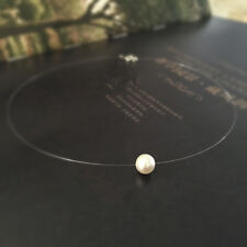 Natural Baroque Freshwater Pearl 925 sterling silver Choker Invisible Necklace