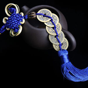 Wealth-Success-5-Copper-Coin-China-Knot-Blue-Rope-Feng-Shui-Lucky-Car-Decor