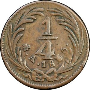 Mexico-1-4-Real-Mo-1835-State-Coppers-KM-358