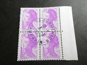 FRANCE BLOC timbres 2242 LIBERTE' DELACROIX, oblitéré 1982 cachet rond, QUARTINA