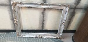 ANTIQUE-SILVER-PAINTED-ORNATE-WOOD-FRAME