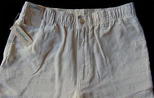 Men's CARIBBEAN Natural Light Khaki LINEN Drawstring Pants 40x32 NWT Pineapple