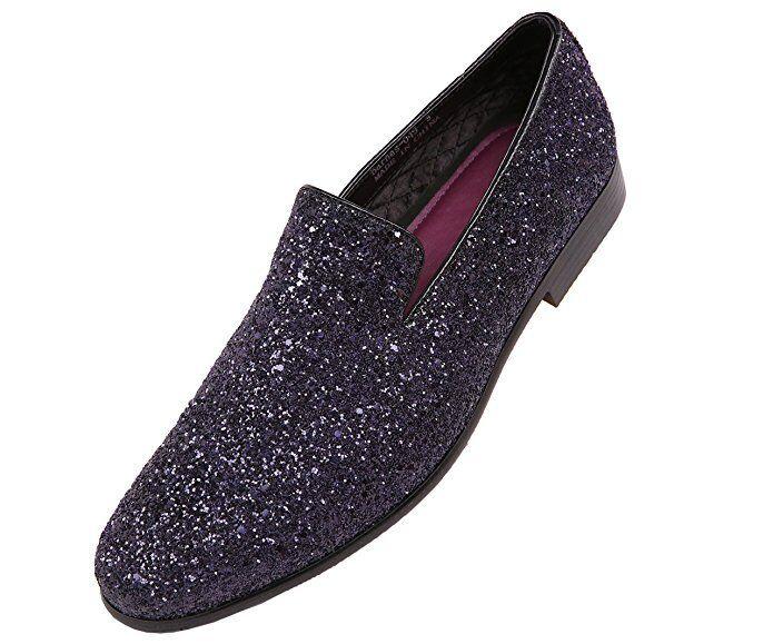 Amali Mens Size 9 Black Sparkling Glitter Slip On Tuxedo Dress Shoe: Barnes-000