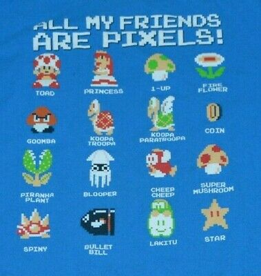 Super Mario Bros All My Friends Are Pixels Characters T Shirt