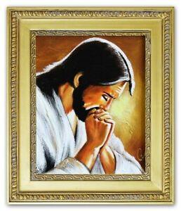 Religion-Gesu-Cristo-Fatto-a-Mano-Quadro-Olio-Immagine-Telaio-G04014