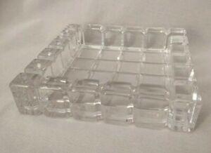 "Clear Crystal Glass Heavy Trinket Tray Ashtray 7"" x 1.5"" High Blocks & Squares"