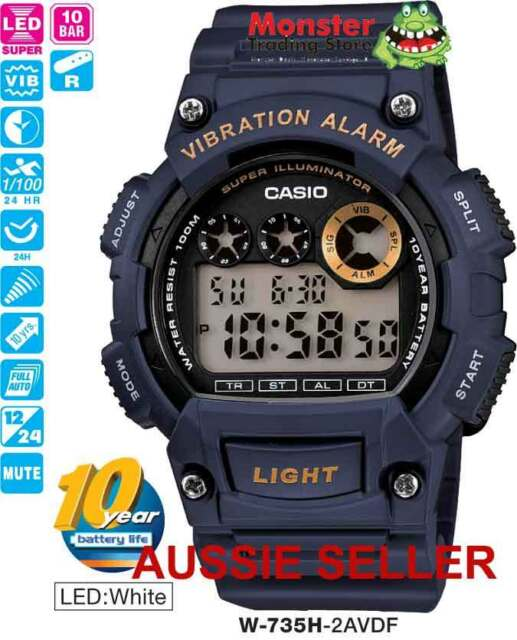 CASIO WATCH W-735H-2AV W735 VIBRATION ALARM 12-MONTH WARRANTY