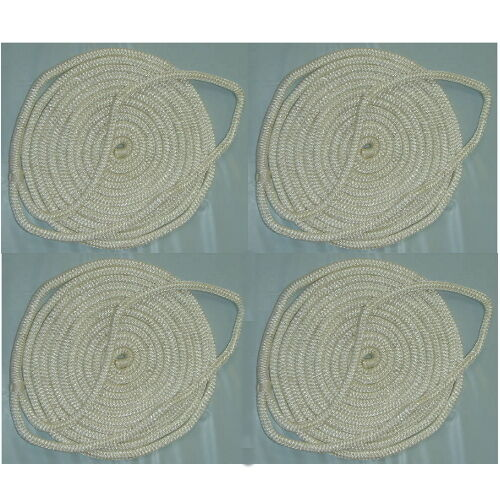 4 Pack of 3//4 Inch x 25 Ft White Double Braid Nylon Mooring and Docking Lines