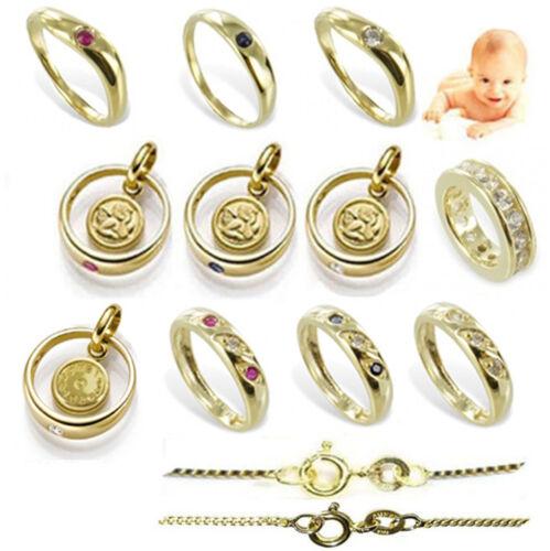 Taufring Taufuhr Engel 333 Gold /& Double Taufkette Kinder Taufschmuck Geschenke