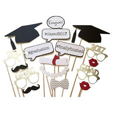 Hot 17 PCS Graduation Party Mask Photo Booth Prop Mustache On Sticks Grad Party