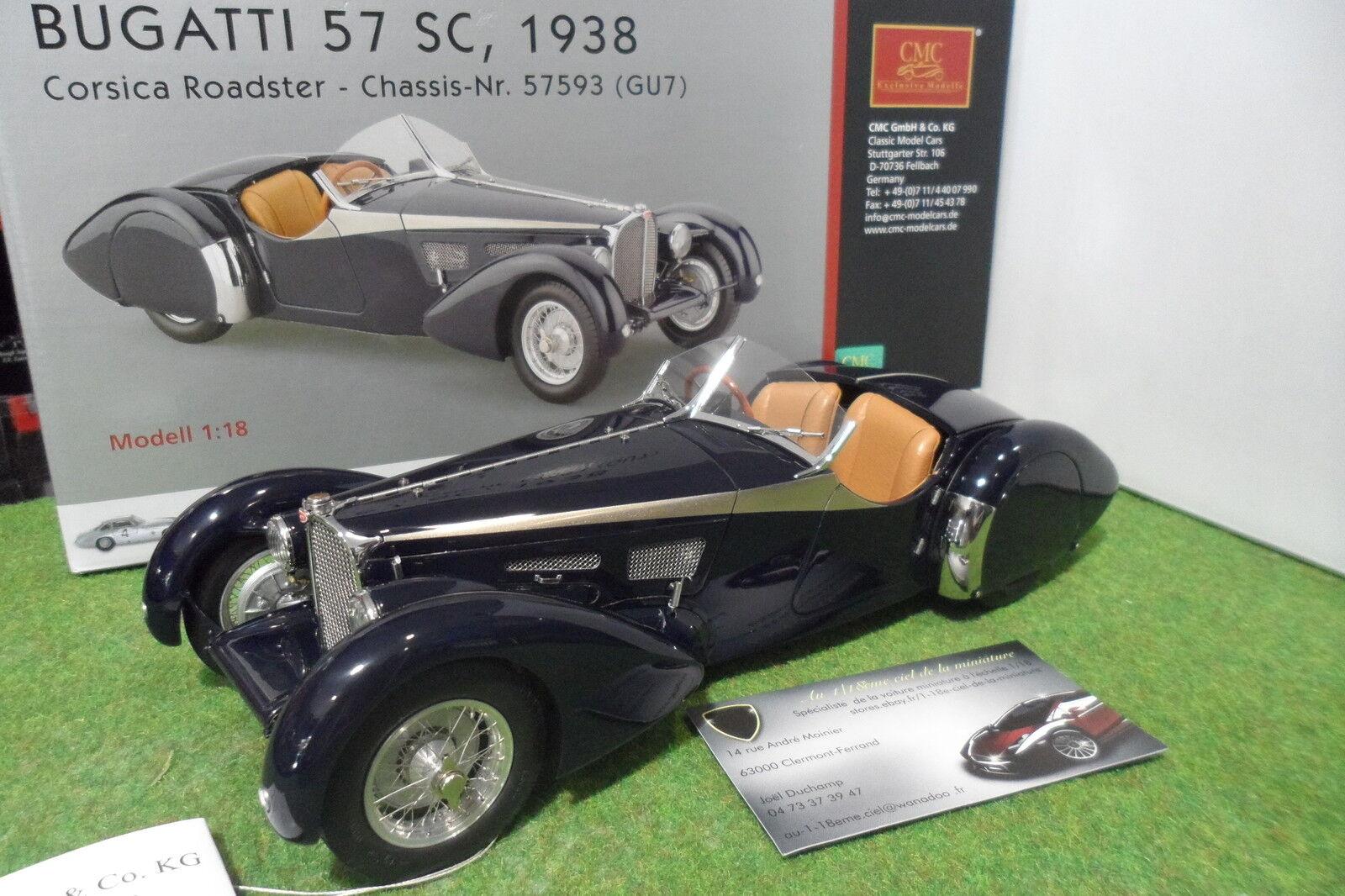 BUGATTI  Type 57 57 57 SC 1938 Corsica Roadster Cabriolet blu 1 18 CMC M106 miniature 0c2138