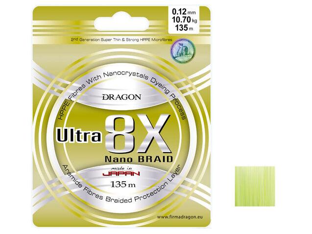 Dragon   Momoi Ultra 8x Nano braid   fluo chartreuse   135m   0,06 - 0,25mm