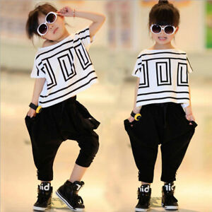 Image is loading Children-Girls-Jazz-Hip-Hop-Dancewear-Kids-Dance- & Children Girls Jazz Hip-Hop Dancewear Kids Dance Bat Shirts Sports ...