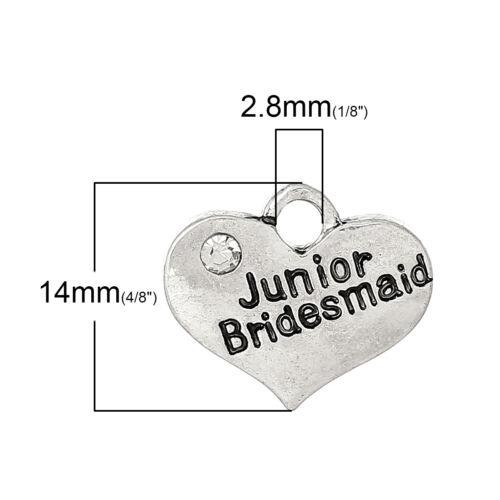 "1 PC Antique Silver Rhinestone /""Junior Bridesmaid/"" Wedding Heart Charm"