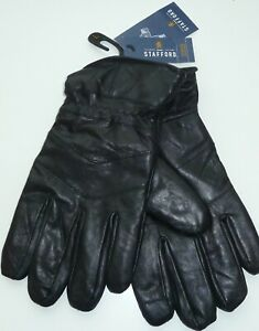Stafford Mens Genuine Leather Thinsulate Touchtech Gloves Black size M L NEW