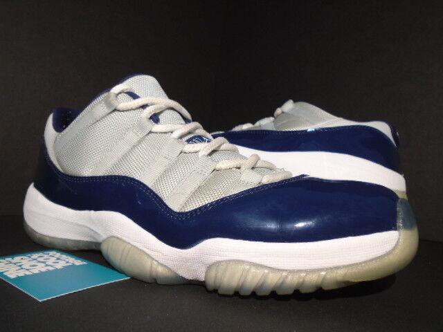 Nike air jordan xi bassa 11 retrò hoyas grigio nebbia bassa xi georgetown bianco blu navy 9,5 d3b344