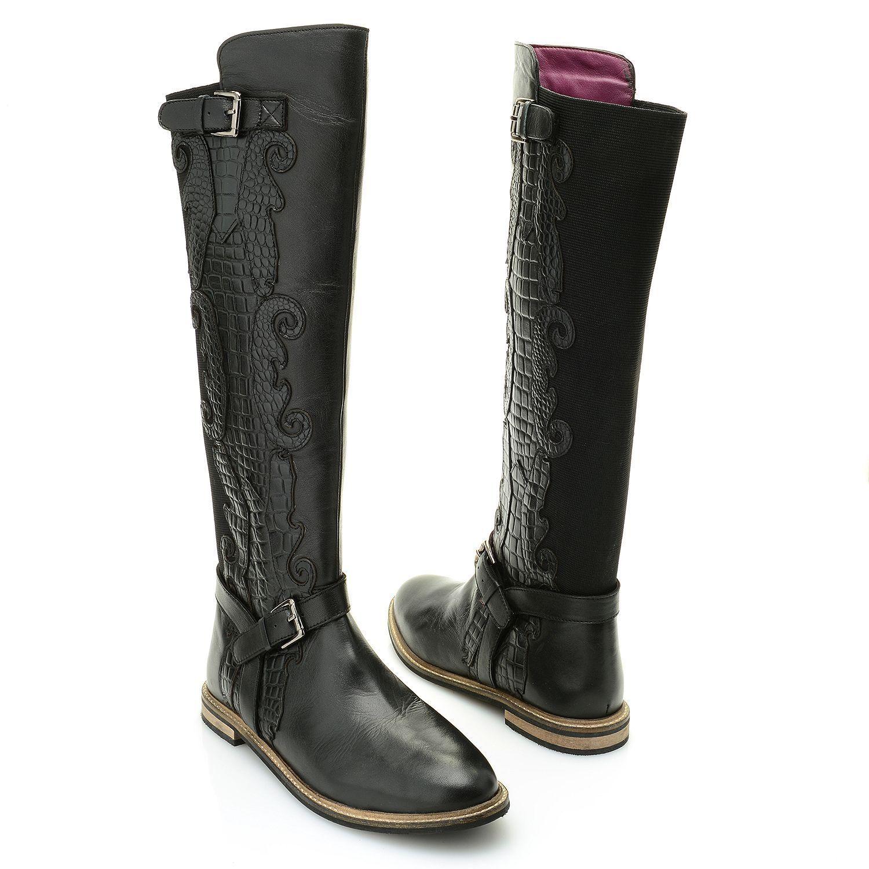 Sharif Remolino tonal Croco Trim Hebilla Cuero Real de detalle rodilla alta botas de montar