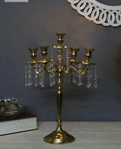 Candle Stand 5 Cup Gold Aluminium Home Decor Table Room Art Showpiece Ebay