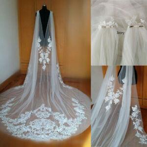 Cathedral-Wedding-Cape-Bridal-Jacket-Cloak-3M-Long-Lace-Shoulder-Veil-Plus-Size