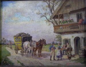 Ludwig-MULLER-CORNELIUS-1864-1946-POSTKUTSCHE-vor-einem-BAUERNHAUS-1915