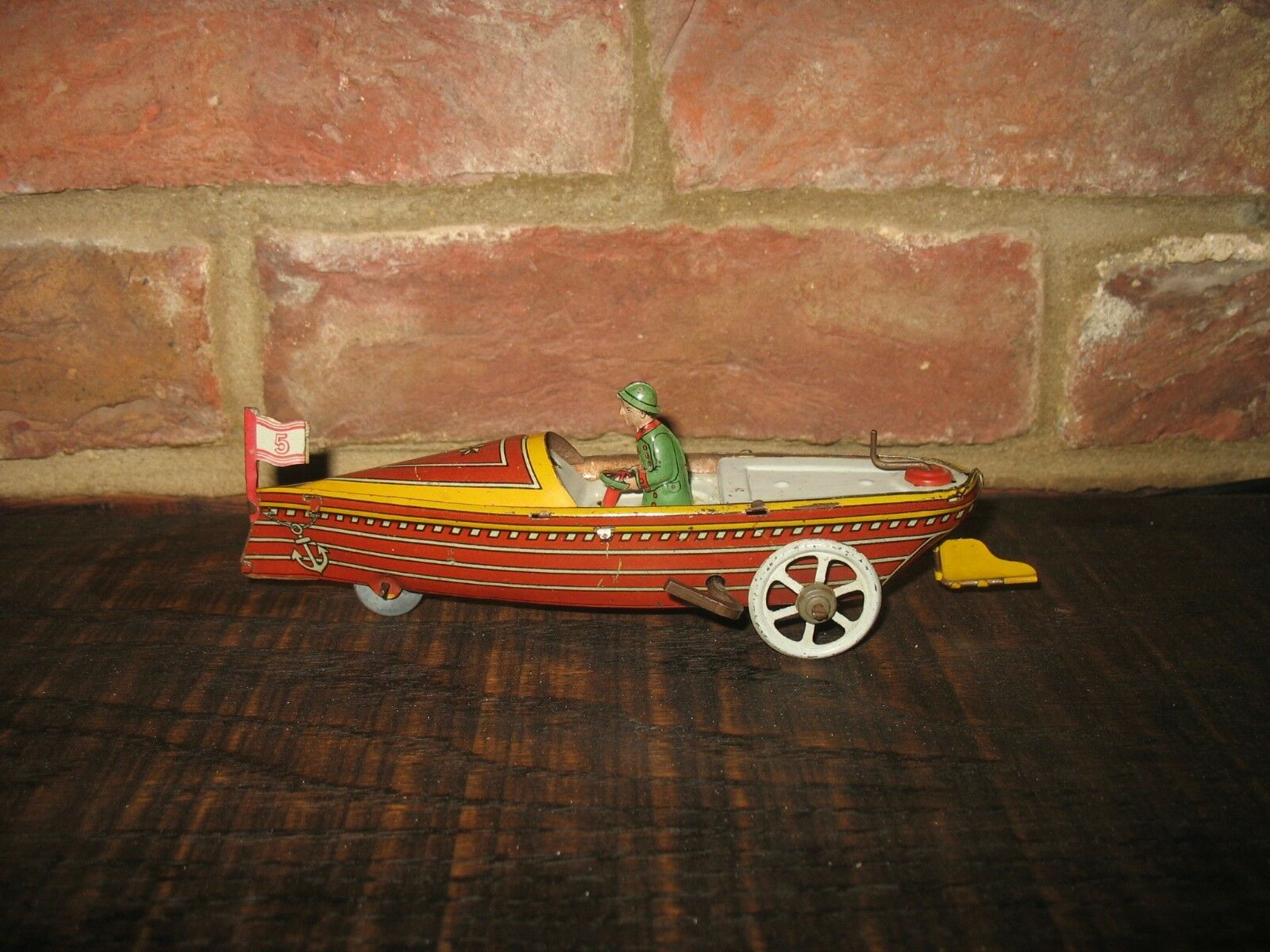 RARE WIND UP FISCHER Corsa Velocità Barca anni 1920 Germania BELLA VINTAGE Tin Penny Toy