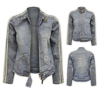 Womens New Ladies New Denim Jean Short Buckle Zip Vintage Blue Jacket Coat 10-14