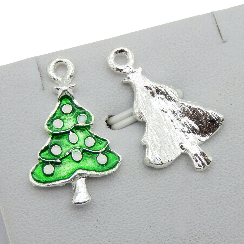20//80//400pcs Tibetan Silver Green tree Alloy Jewelry Craft Charm Pendant 20x17mm
