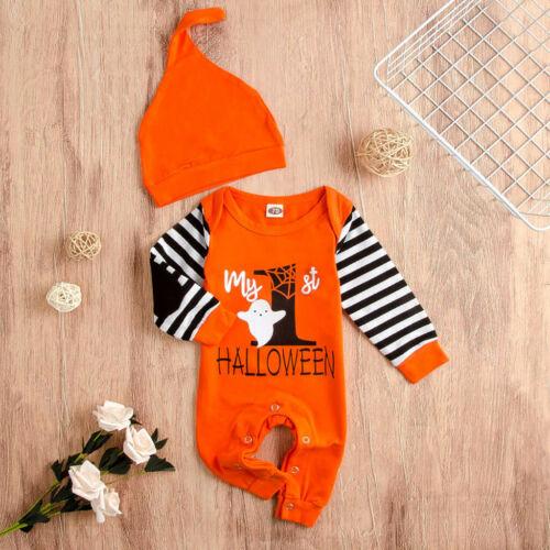 Infant Toddler Baby Girls Boys Halloween Stripe Letter Print Jumpsuit Outfit Set