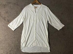ef973cb2759 DKNY Tunic Top WHITE Stretch Knit Blouse + POCKETS Lace Yoke Women's ...