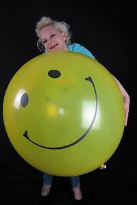 1-x-Globos-36-034-Riesenluftballon-SMILEY-kristall-gelb-crystal-yellow
