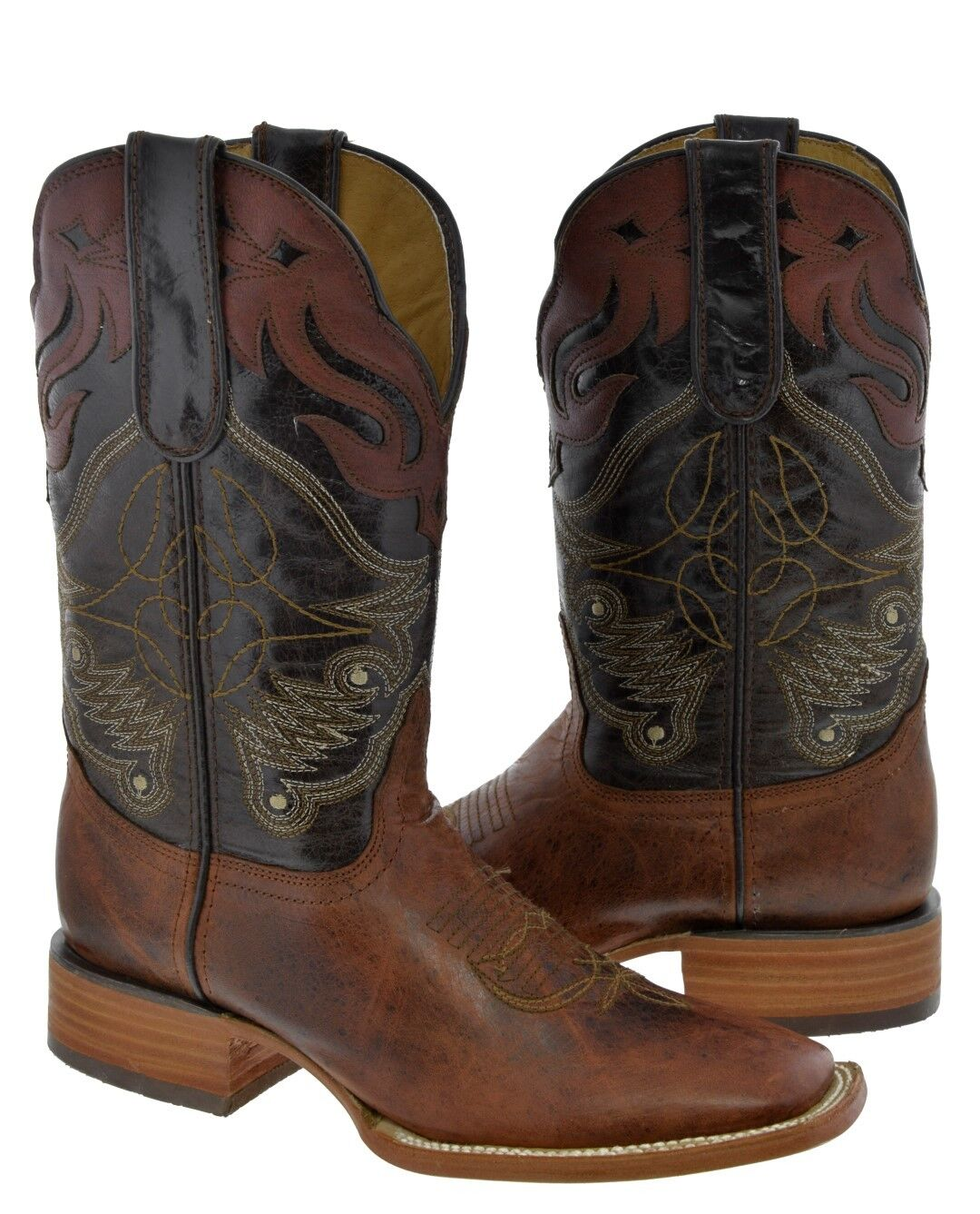 Mens Chedron Real Leather Cowboy Boots Cognac Overlay Stitched Rodeo Square
