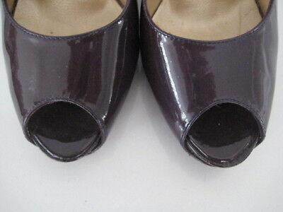Russell & Bromley Damas Berenjena Púrpura Oscuro Charol Punta Abierta Zapatos