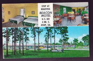 GEORGIA-GA-Jesup-Beautiful-Bacon-Motel-3-Views-1950s-Cars-Postcard