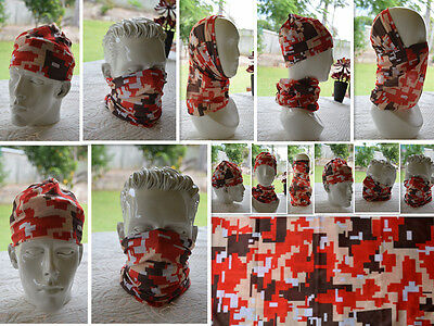 'CAMO' Head/Face/Mask/Neck Multi-wear tube Bandana/Durag.SPF5,Scarf/Wrap. 056