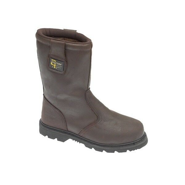 Grafters KNOX Mens Heavy Duty Goodyear Welted Fur Lined Rigger Stiefel Oily braun