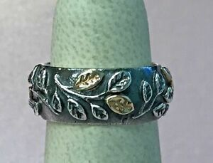 a1cdb8df10d07 PANDORA 14k Gold Silver Tree of Life Ring RARE Retired Leaf Size 6