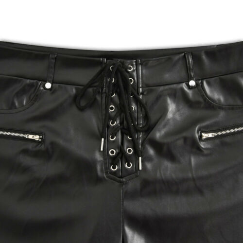 Plus Size Womens Wet Look Leather High Waist Leggings Stretch Pants PVC Trousers