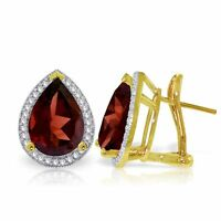 Genuine Garnet Pear Gemstones & Diamonds French Clip Earrings in 14K. Solid Gold