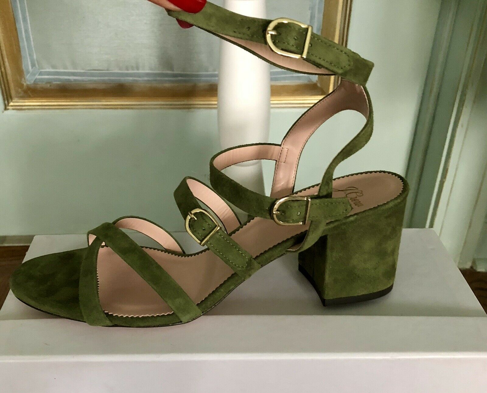 NWB J.Crew verde Suede Sandals  Dimensione 9,5 Made in   confortevole