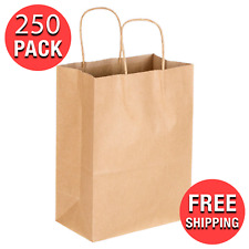 250 Case 8 X 45 X 10 58 Natural Kraft Paper Shopping Grocery Bag Handle