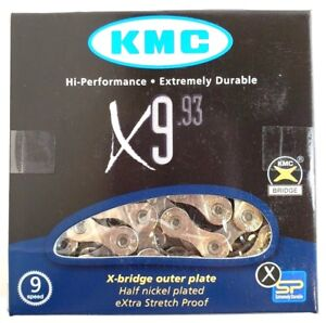 KMC-X9-93-9-Speed-Stretch-Proof-Bike-Chain-Road-MTB-fit-Campagnolo-Shimano-SRAM