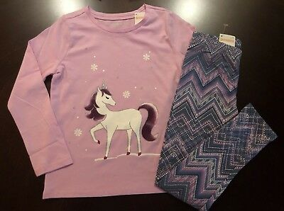Gymboree Girls Unicorn L//S T-shirt matching Leggings 2T 3T Blue Pink NEW