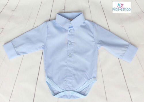 Baby Boy White Blue Grey Smart Body Shirt Formal Bodysuit Christening Pageboy